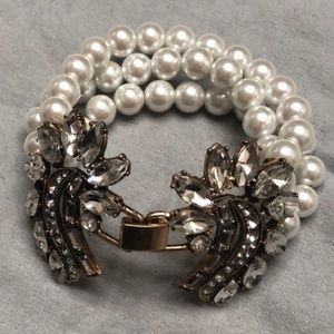 NEW vintage pearl/crystal statement bracelet